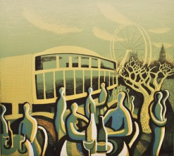 Lunch at the Royal Festival Hall. Drypoint and relief print 39x43cm