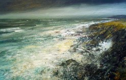 120x80cm Mixed Media on Canvas Evening  Zennor Head £1960