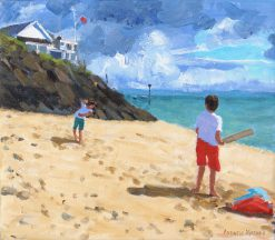 "Bowling and batting,Abersoch,14x16"" 2016"