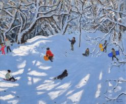 Sledging in Allestree Woods.20x24 ""