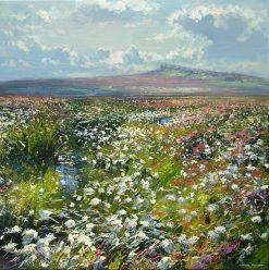 Among the Cotton Grass, Hallam Moor 24x24