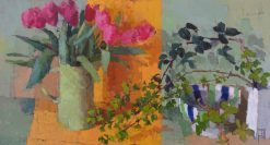 Leaves with tulips 16x30